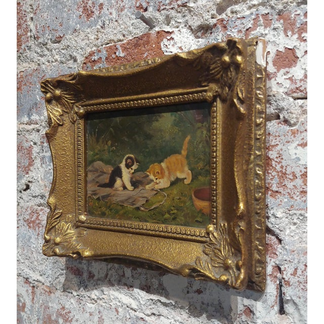 """""""Playful Kittens"""" German Oil Painting, 1930s For Sale In Los Angeles - Image 6 of 9"""