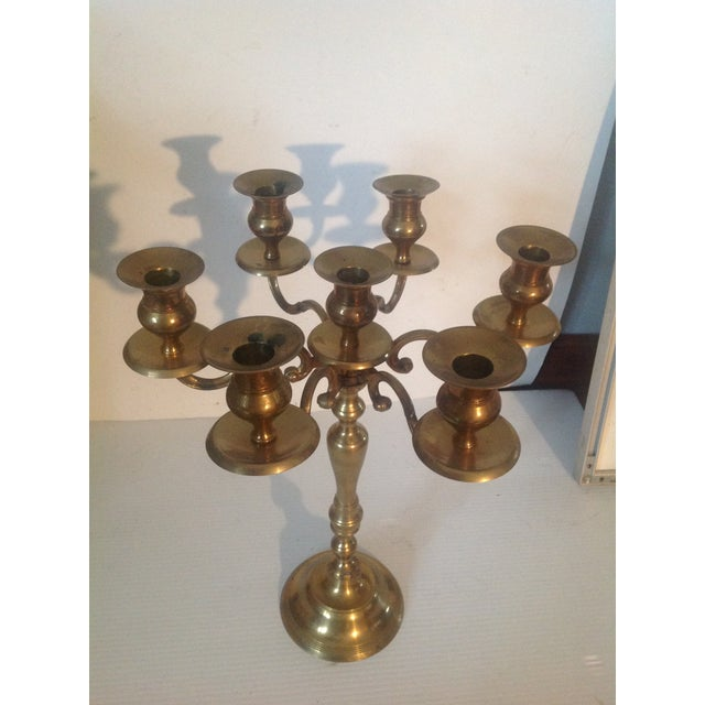 Metal Mid 20th Century Mid Century Brass Candelabra For Sale - Image 7 of 7