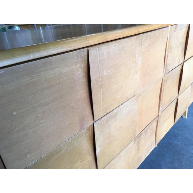 """Wood Heywood-Wakefield """"Sculptura"""" Extra-Wide 6-Drawer Dresser For Sale - Image 7 of 10"""