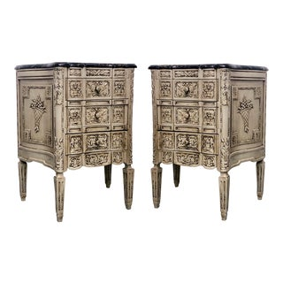 Carved Marble Topped Chests From Belgium - A Pair For Sale