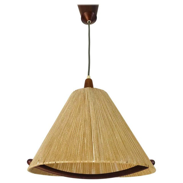 Midcentury Teak and Rattan Hanging Lamp, circa 1970 For Sale - Image 12 of 12