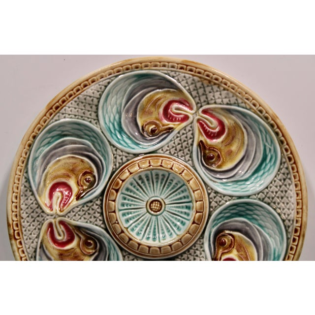 Majolica Fish Heads Oyster Plate by Onnaing, 1800s For Sale - Image 4 of 13