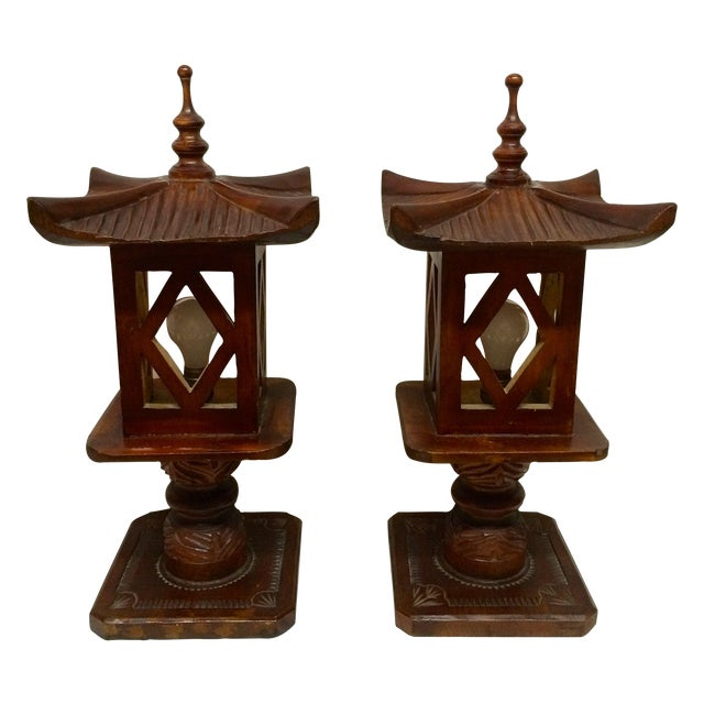 Hand Carved Wood Pagoda Lamps - A Pair For Sale