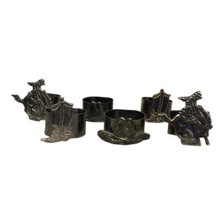 Silver Plate Western Theme Napkin Rings- Set of 6 For Sale