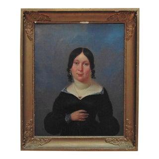 Antique Portrait Paintings Woman Oil on Canvas For Sale