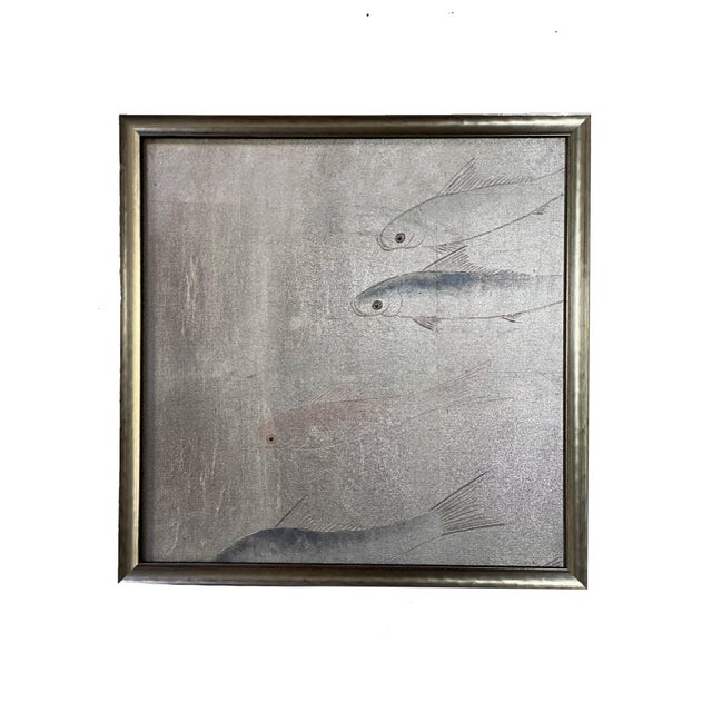 Silver Framed Koi Fish Hand Painted on Antiqued Silver Leaf Chinoiserie Wallpaper, Set of 6 For Sale - Image 8 of 9