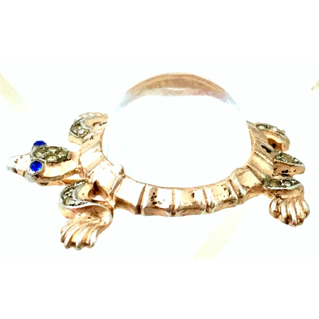1940s Trifari Sterling Vermeil, Lucite & Crystal Jelly Belly Turtle Brooch For Sale - Image 13 of 13