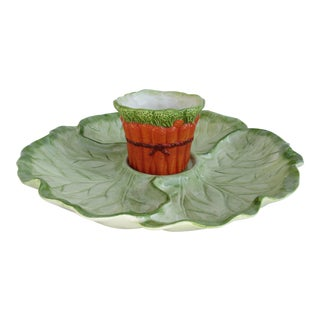 Vintage Fitz & Floyd Porcelain Ceramic Cabbage-Shaped Vegetable Dip Platter -2 Pieces For Sale