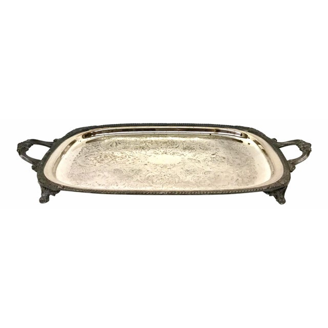 1940s Art Deco F B Rogers Silver Plate Serving Tray For Sale - Image 12 of 12