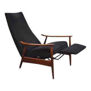 Milo Baughman Black Reclining Lounge Chair For Sale
