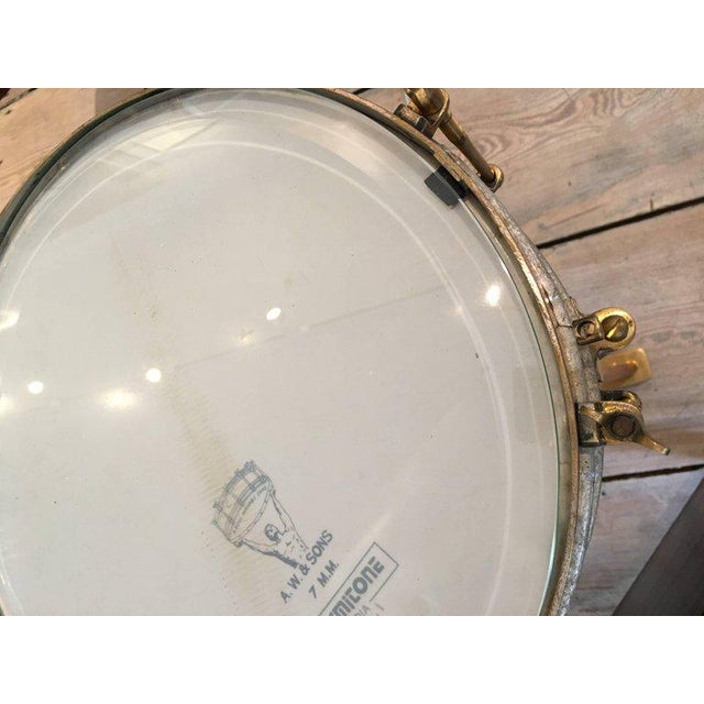 Solid Brass Military or Marching Band Snare Drum Converted to Table, Early 1900s For Sale - Image 4 of 8