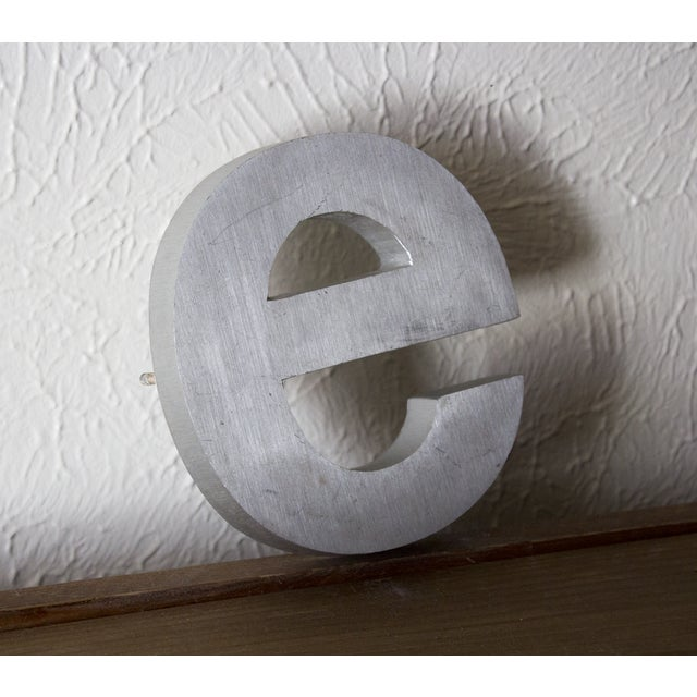 Industrial Silver Salvaged Letter E For Sale - Image 4 of 6