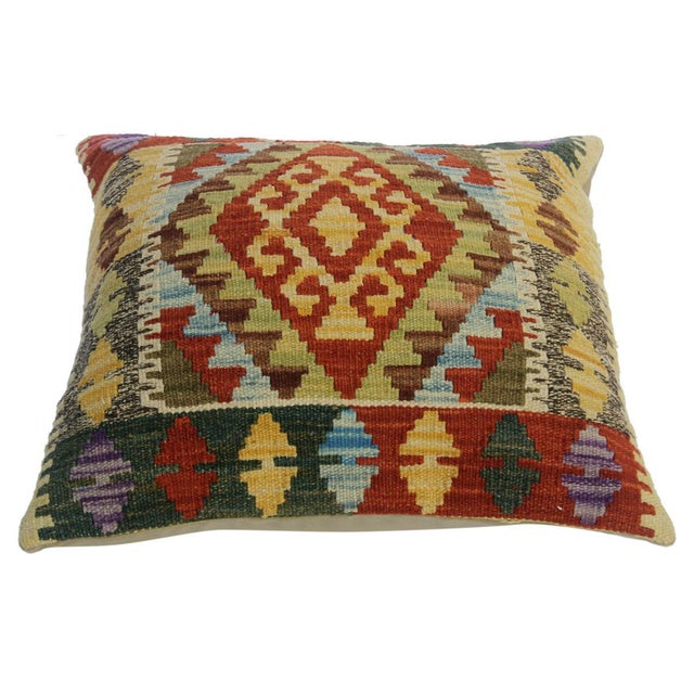 "Asian Chu Gold/Rust Hand-Woven Kilim Throw Pillow(18""x18"") For Sale - Image 3 of 6"