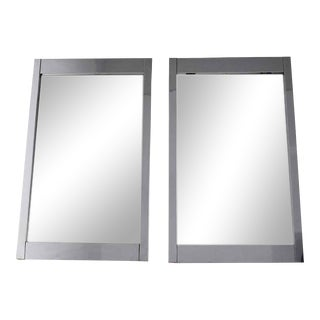 Large Chrome Frame Mirrors by Milo Baughman for Thayer Coggin - a Pair For Sale