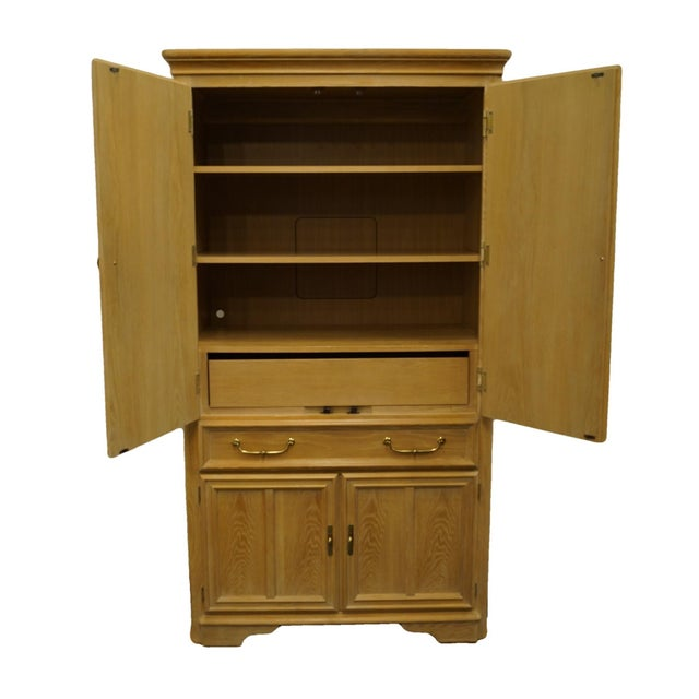 """Stanley Furniture pickled oak contemporary modern 42"""" door chest / armoire. 76"""" High 42"""" Wide 22"""" Deep We specialize in..."""