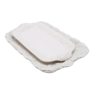 White Ceramic Serving Platters - a Pair For Sale