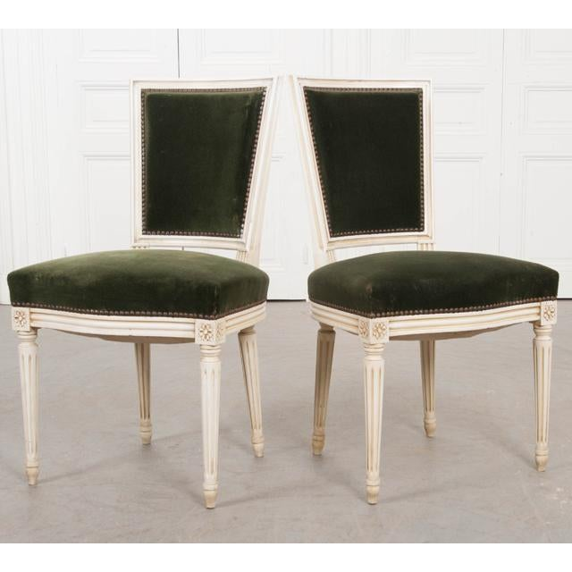 Paint French Vintage Louis XVI Painted Side Chairs - a Pair For Sale - Image 7 of 11