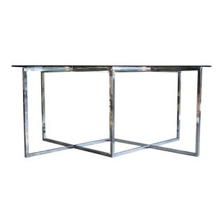 Milo Baughman Style Chrome & Glass Desk / Dining Table For Sale