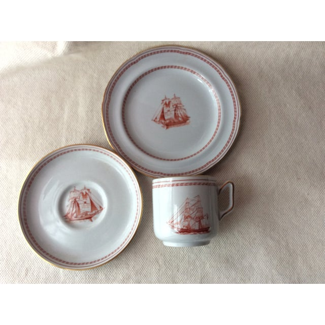 Copeland Spode TradeWinds Pattern Coffee Cups, Saucers and Plates - Set of 12 For Sale - Image 4 of 11
