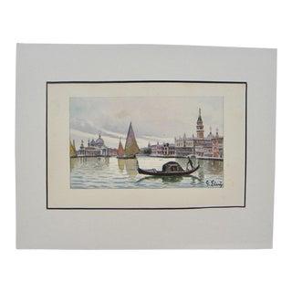 1970s Vintage Gondolier Venice Watercolor Painting For Sale