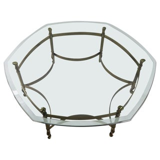 Weiman Brass and Glass Hexagonal Coffee Table For Sale