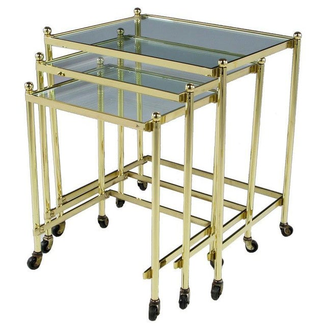 Solid Brass Set of Three Nesting Tables in the Manner of Jansen For Sale In Chicago - Image 6 of 6