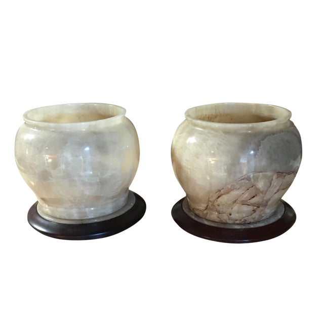 1970s American Classical Alabaster Bowls With Removable Wood Bases - a Pair For Sale