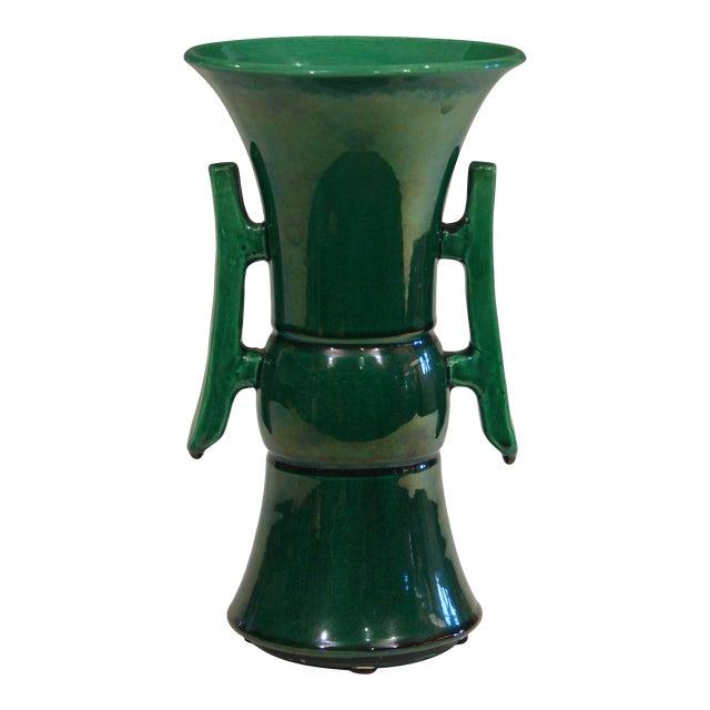 Antique Awaji Pottery Arts & Crafts Green Gu Monochrome Vase For Sale