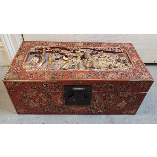 Late 19th Century Chinese Painted Lacquered Wood Carved Imperial Court Motif Chest For Sale - Image 10 of 10