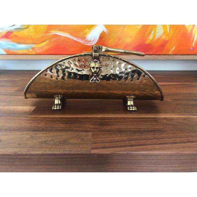 Brass Vintage Hammered Brass Petite Hearth Log Carrier For Sale - Image 7 of 13