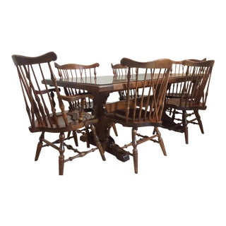 1980s Early American Ethan Allen Pine Dining Set - 7 Pieces For Sale