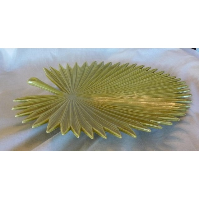 Green Global Views Palm Leaf Platter With Feet For Sale - Image 8 of 9