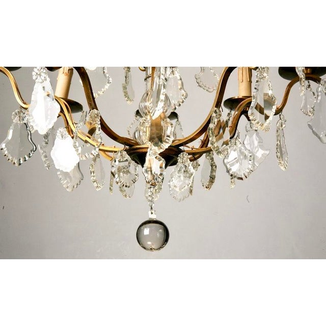 French Eight Light Brass, Glass & Crystal Chandelier, C.1920 - Image 8 of 9