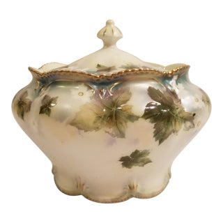Antique R.S. Prussia Hand Painted Jar or Bowl With Lid For Sale