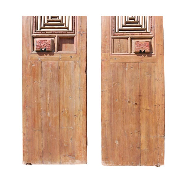 Asian Chinese Vintage Dimensional Scroll Carving Wood Door Panels - A Pair For Sale - Image 3 of 6