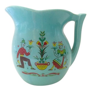 Vintage Mid-Century McCoy Aqua Dutch Ceramic Pitcher