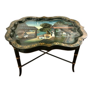 Maitland Smith Hand Painted Tray on Faux Bamboo Stand For Sale