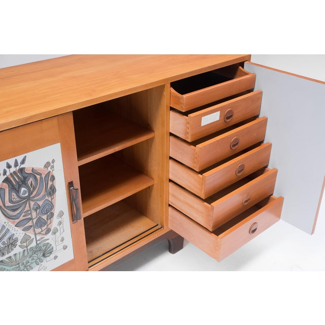 Metal Modernist Sideboard With Perignem Ceramic and Macassar Details For Sale - Image 7 of 12