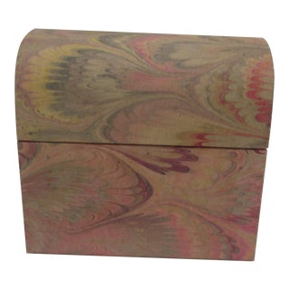 Vintage Petite Jewelry Box With Lacquered Wood Inside For Sale