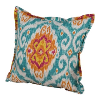 Chenille and Linen Pillow With A Bright Ikat Motif Design For Sale