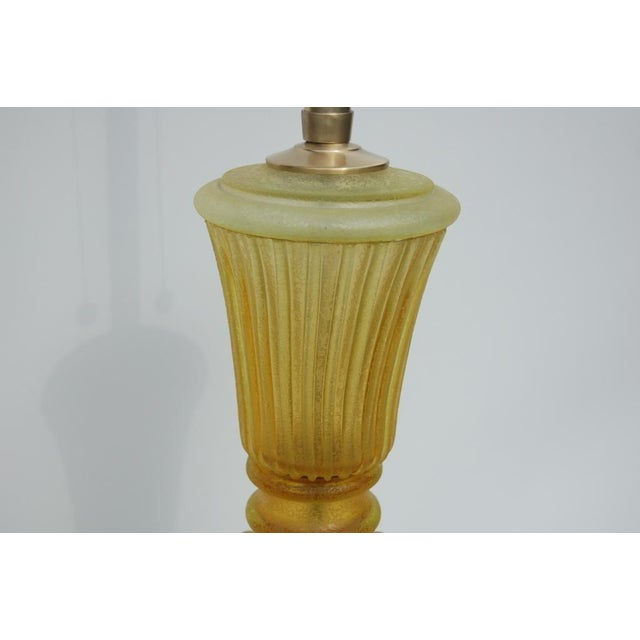 The Marbro Lamp Company Marbro Murano Acidato Glass Table Lamp Gold For Sale - Image 4 of 5