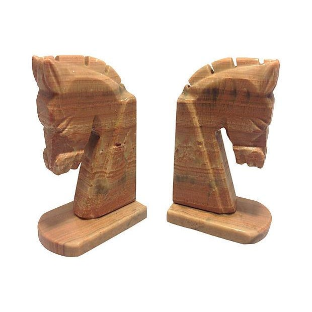 Stone Horse Head Bookends - A Pair - Image 1 of 3