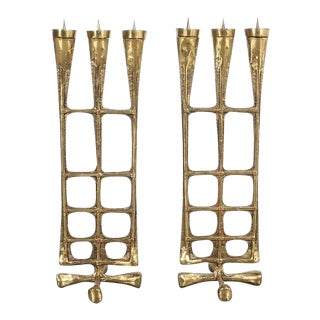 Pair of Brutalist Brass Candle Holders Mid Century, Austria 1950