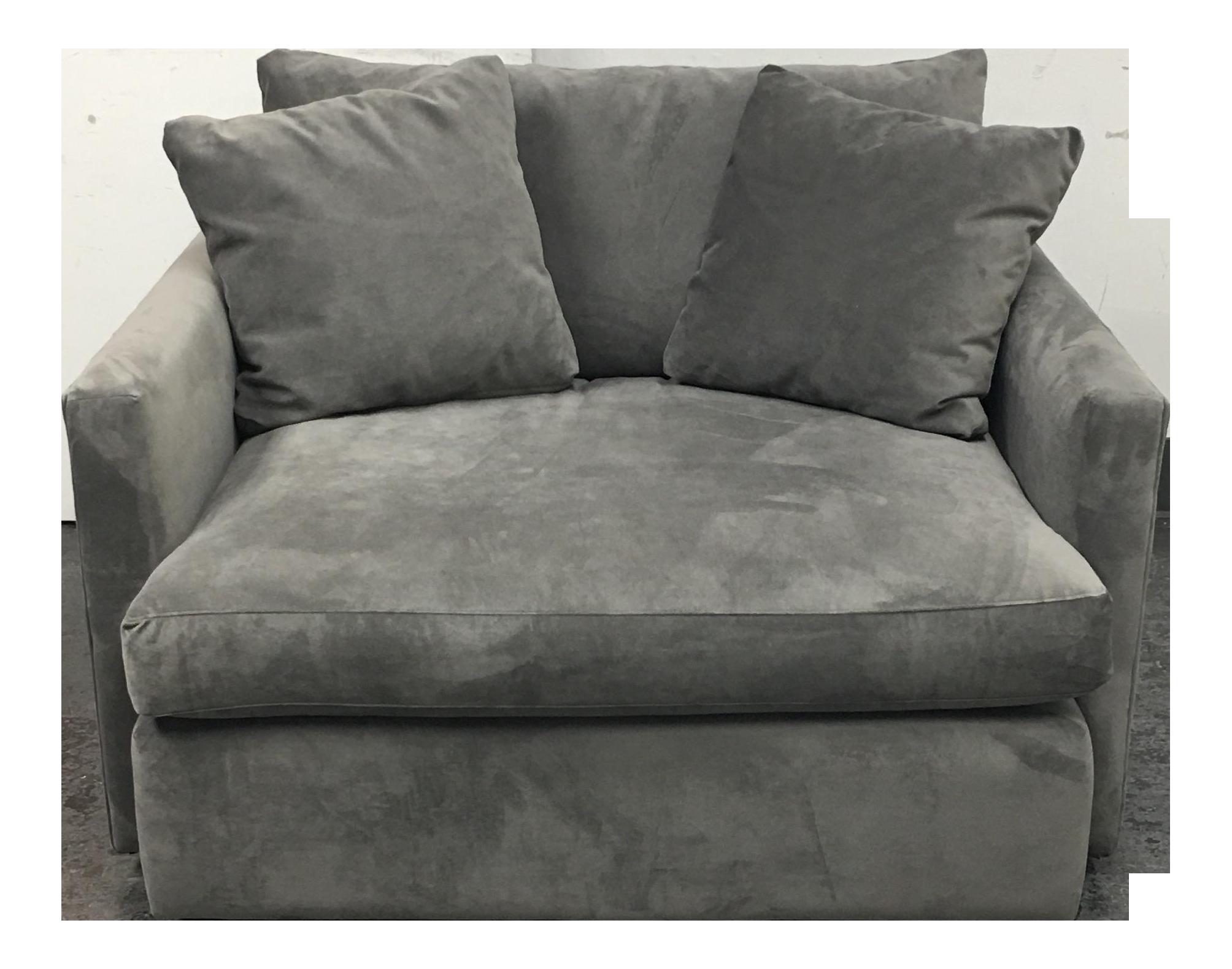 Crate Barrel Velvet Lounge Chair Chairish