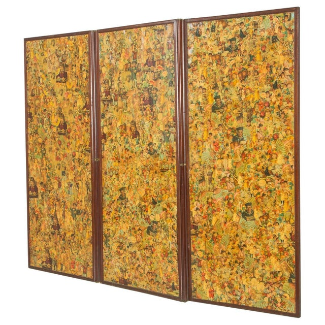 3-Paneled Victorian Decoupaged Room Divider Screen For Sale - Image 5 of 7