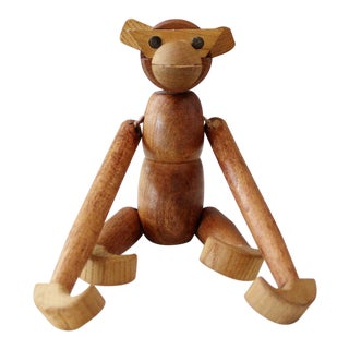 Zoo Line Style Monkey Toy Figurine Wooden Articulated Mid Century Modern