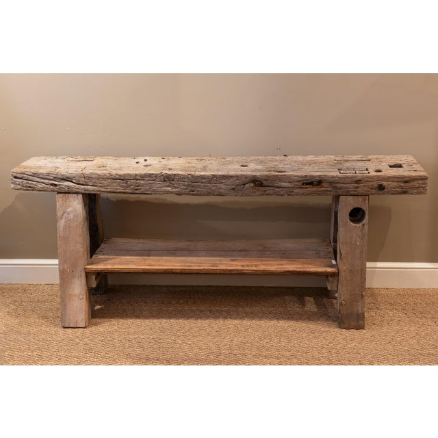 French Rustic & Narrow Pine Workbench With Shelf, French, Circa 1890 For Sale - Image 3 of 5