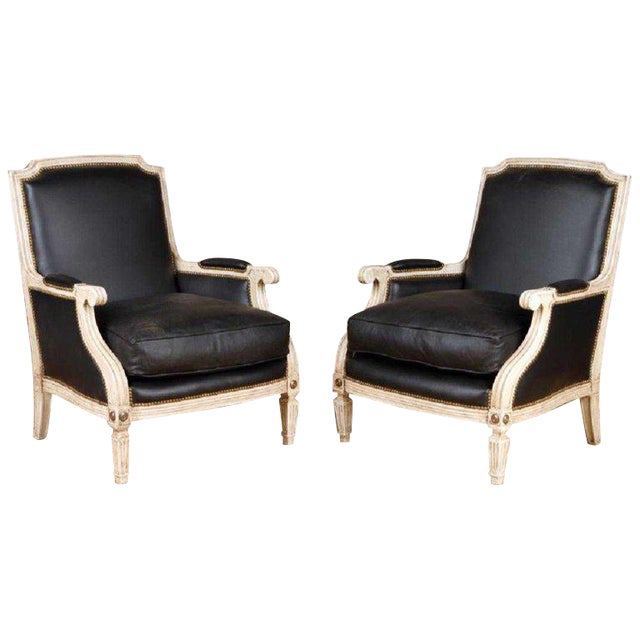 Pair Painted and Parcel Gilt Maison Jansen Black Leather Arm or Bergere Chairs For Sale