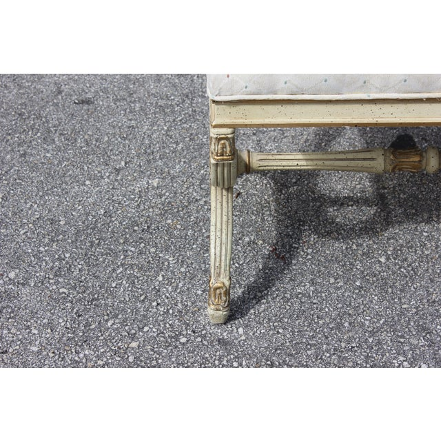 1900s Vintage Long French Louis XVI Barrel Legs Seating Bench For Sale - Image 10 of 13
