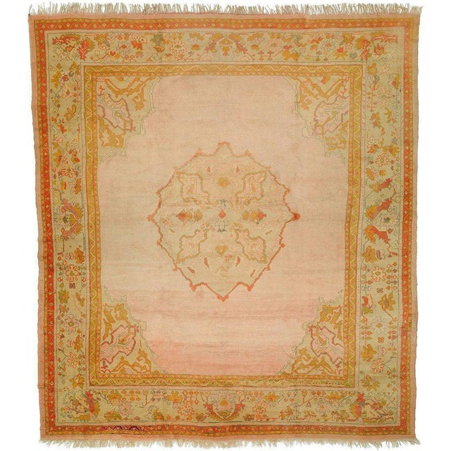 Bright Pink Antique Turkish Oushak Rug, 11' X 12'2'' For Sale - Image 10 of 10